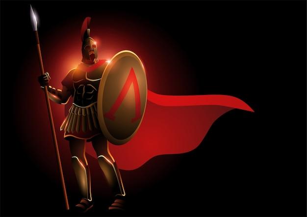 Ilustracja spartańskiego wojownika w hełmie i czerwonym płaszczu, ilustracja fantasy leonidas