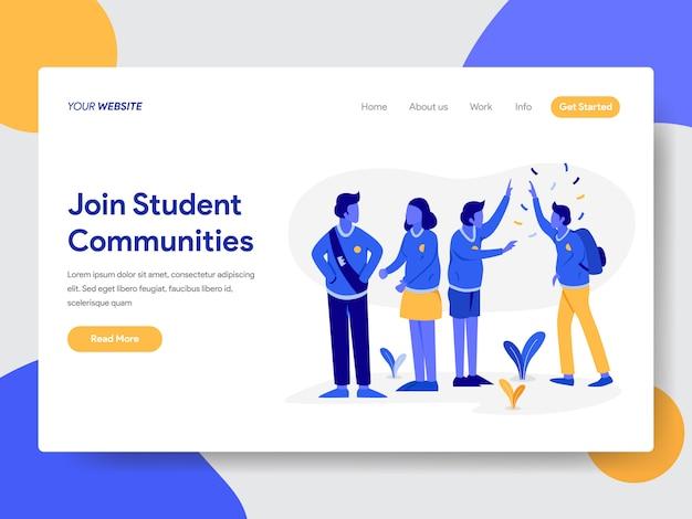 Ilustracja społeczności studenckiej dla stron internetowych