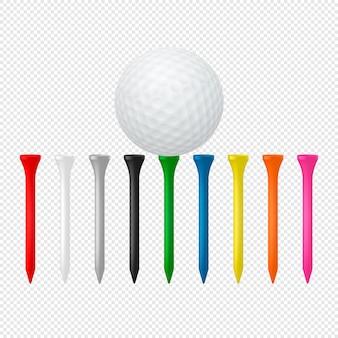 Ilustracja sporta set - realistyczna piłka golfowa z trójnikami.