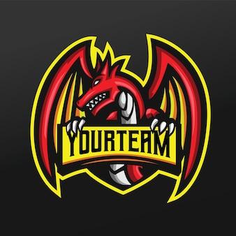 Ilustracja sportowa maskotka czerwonego smoka dla drużyny logo esport gaming team