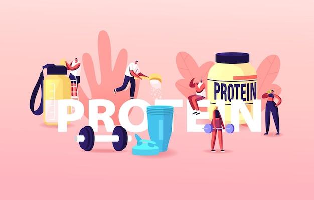 Ilustracja sportowców, sportsmenek pijących koktajle białkowe