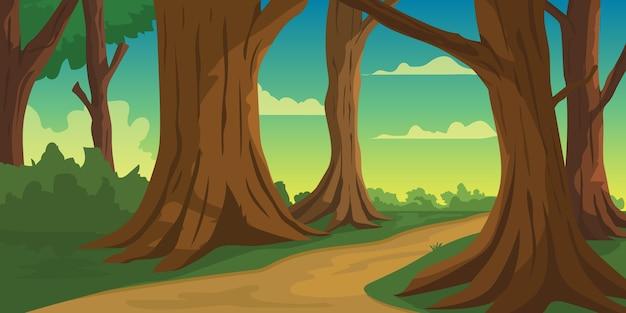 Ilustracja sposób w dżungli rano wschód słońca