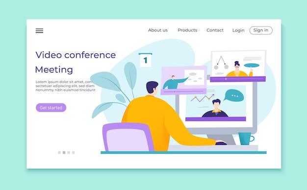 Ilustracja spotkanie biznesowe konferencji wideo