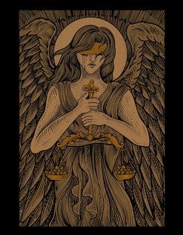 Ilustracja sprawiedliwość anioła w stylu grawerowania