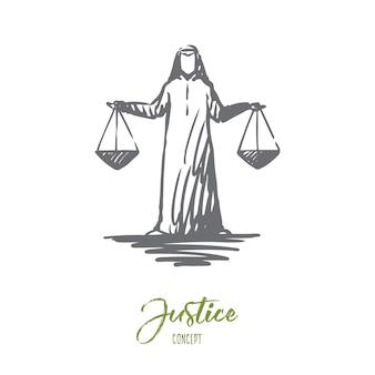 Ilustracja sprawiedliwości w wyciągnąć rękę