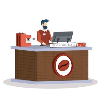 Ilustracja sprzedawca kawiarni
