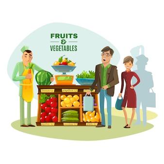 Ilustracja sprzedawca owoców i warzyw