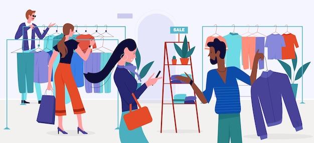 Ilustracja sprzedaży centrum handlowego. ludzie kupujący z kreskówek wybierają ubrania wiszące na wieszakach sklepu detalicznego, sklepu lub butiku nowoczesne wnętrze, kupują modne modne ubrania w tle