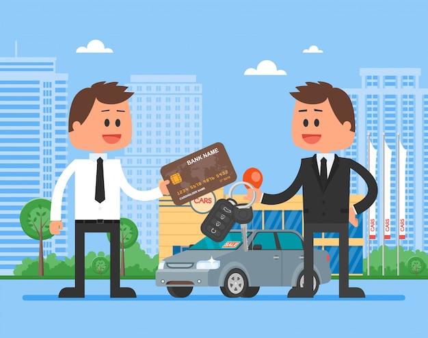 Ilustracja sprzedaży samochodów.