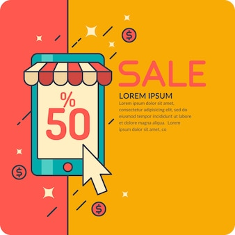 Ilustracja sprzedaży w stylu kreskówki z telefonem. baner reklamowy, projekt, strona internetowa, ulotka lub okładka