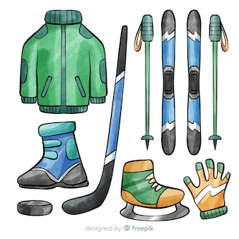 Ilustracja sprzęt hokejowy