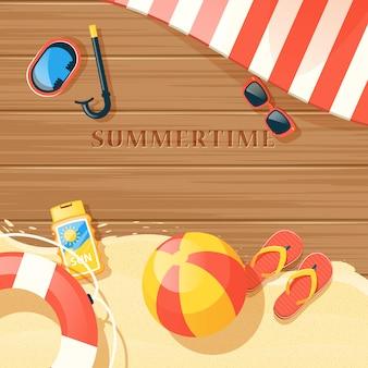 Ilustracja sprzęt plażowy