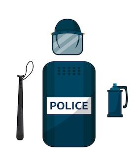 Ilustracja sprzętu policyjnego zamieszek