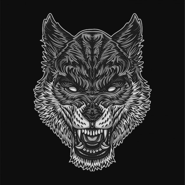 Ilustracja srebrnego wilka