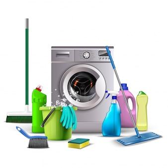 Ilustracja środków czystości, wyposażenie kuchni i łazienki do mycia, toaleta, miotła, wiadro z wodą i gąbką, pralka z miotłami.