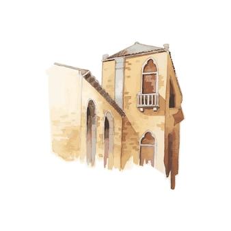 Ilustracja śródziemnomorski Miasto Budynku Koloru Wody Zewnętrzny Styl Darmowych Wektorów