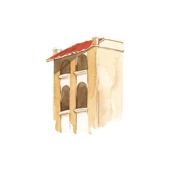 Ilustracja śródziemnomorski miasto budynku koloru wody zewnętrzny styl
