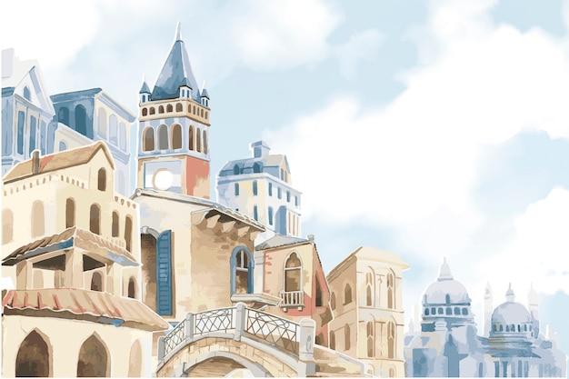 Ilustracja śródziemnomorskiego Miasta Darmowych Wektorów