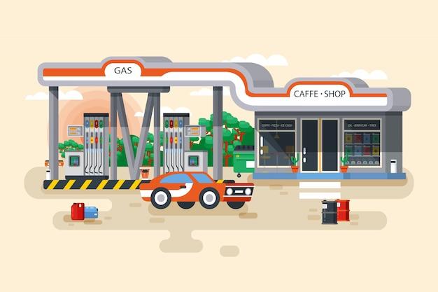 Ilustracja stacji benzynowej i benzynowej w stylu płaskiej