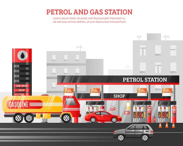 Ilustracja stacji benzynowej i benzyny