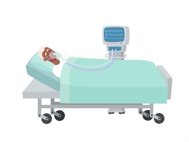 Ilustracja starego afrykańskiego człowieka leżącego w łóżku szpitalnym z maską tlenową i respiratorem na białym. człowiek w trakcie reanimacji podczas infekcji koronawirusem użyty do czasopism, stron internetowych.