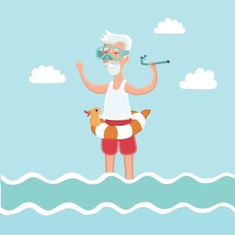 Ilustracja starego człowieka stojącego w wodzie morskiej z maską do nurkowania na twarzy i rurką do nurkowania w ręku
