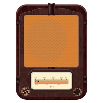 Ilustracja starego radia w drewnianej skrzynce
