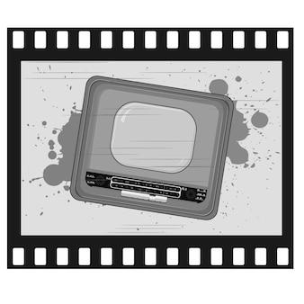 Ilustracja starej ramki ze starym telewizorem