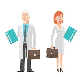 Ilustracja, starszy naukowiec i młoda kobieta trzyma walizkę, format eps 10