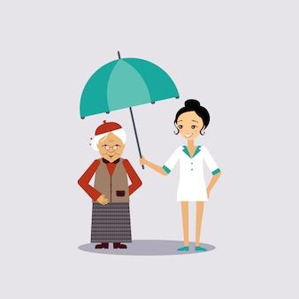 Ilustracja starszy ubezpieczenie medyczne