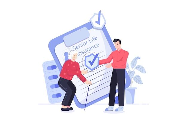 Ilustracja starszy ubezpieczenie na życie