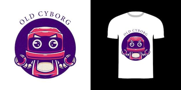 Ilustracja stary cyborg do projektowania koszulek