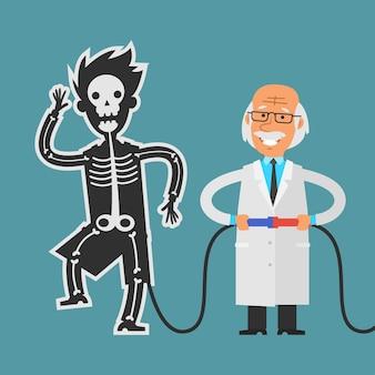 Ilustracja, stary naukowiec przeprowadzający eksperymenty ze swoim asystentem, format eps 10
