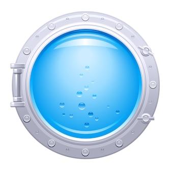 Ilustracja statek iluminator. okno łodzi podwodnej z widokiem podwodnym. niebieska woda z bąbelkami.