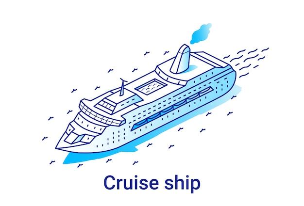 Ilustracja statku wycieczkowego w liniowym stylu izometrycznym. minimalna linia grafiki.