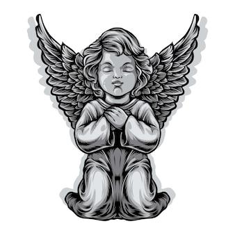 Ilustracja statua anioła dziecka