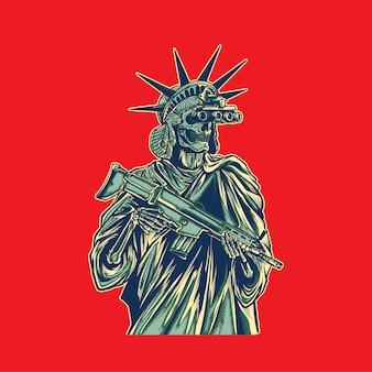 Ilustracja statua wolności przynieść broń i nosić noktowizor