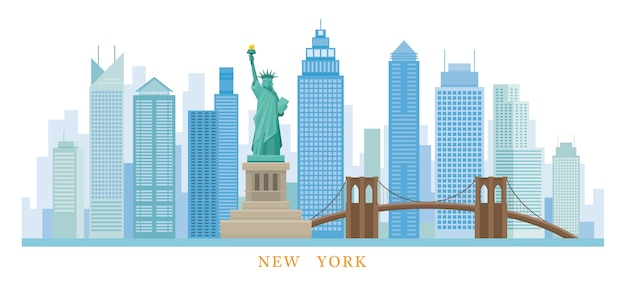 Ilustracja Statua Wolności Premium Wektorów