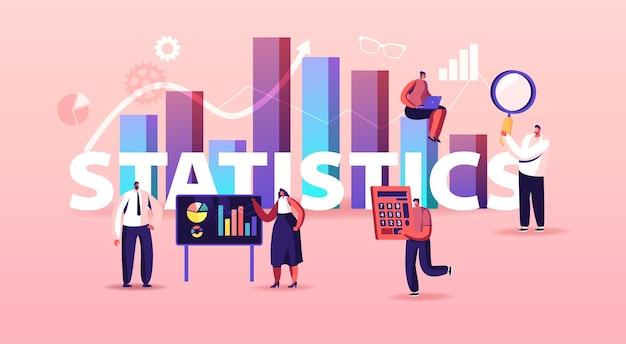 Ilustracja statystyki. drobne postacie na ekranie dotykowym i ogromna kolumna wykresu