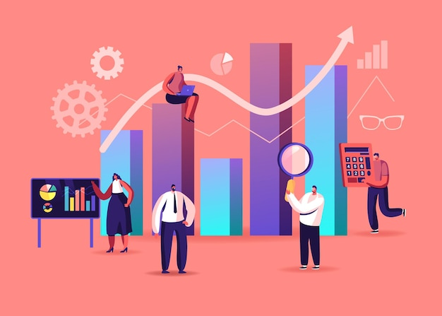 Ilustracja statystyki nauki. drobne postacie na ekranie dotykowym i ogromna kolumna wykresu. analiza zarządzania projektami