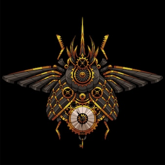 Ilustracja steampunk chrząszcze