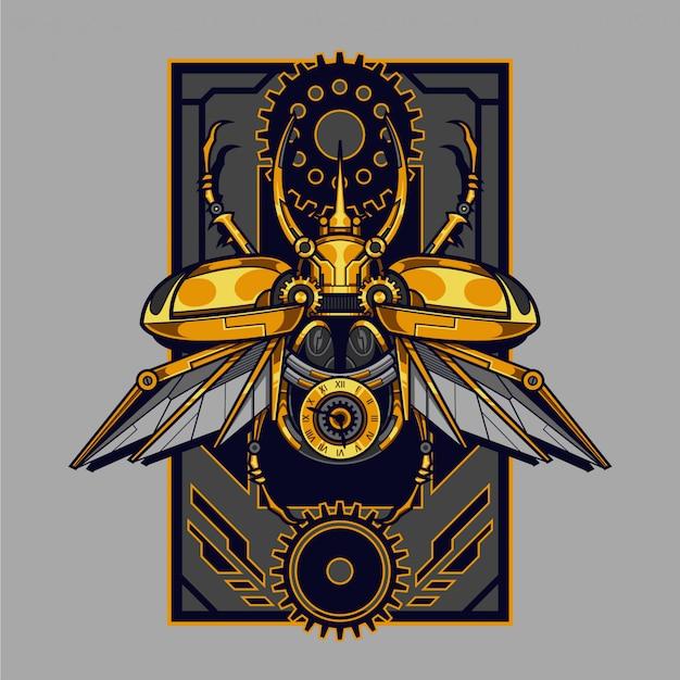 Ilustracja steampunk mechanicznego chrząszcza i projekt koszulki