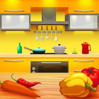 Ilustracja stół kuchenny