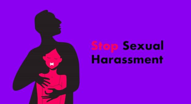 Ilustracja stop molestowania seksualnego. przerażona dziewczyna cierpi z powodu agresywnego zachowania. ofiara gwałtu. ja też teg.