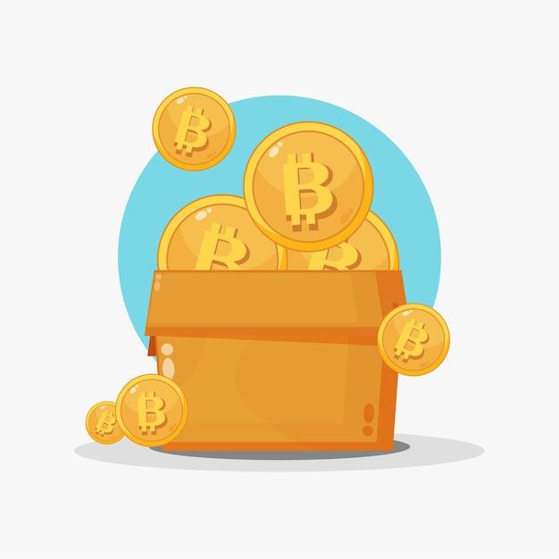 Ilustracja stosu bitcoinów w pudełku