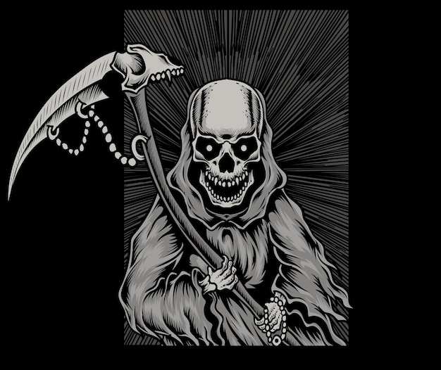 Ilustracja straszna czaszka anioła śmierci