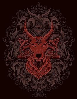 Ilustracja straszna koza zła z grawerowanym ornamentem