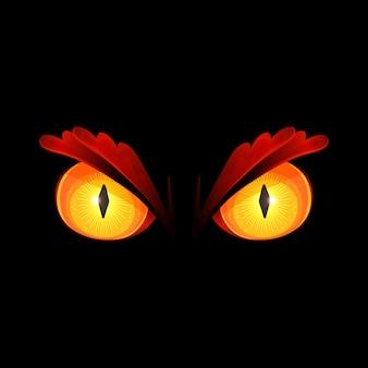 Ilustracja straszne żółte oczy