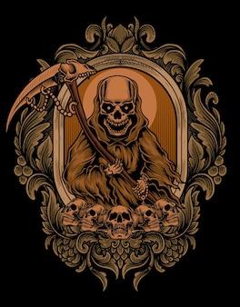 Ilustracja straszny anioł śmierci z antycznym ornamentem grawerującym