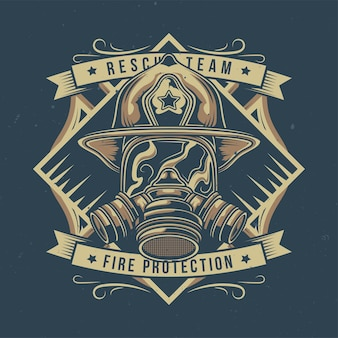 Ilustracja strażaka z maską gazową
